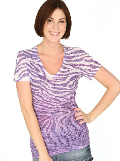 Purple Zebra Short-Sleeved Burnout