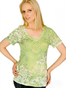 Lime Hibiscus Short-Sleeved Burnout
