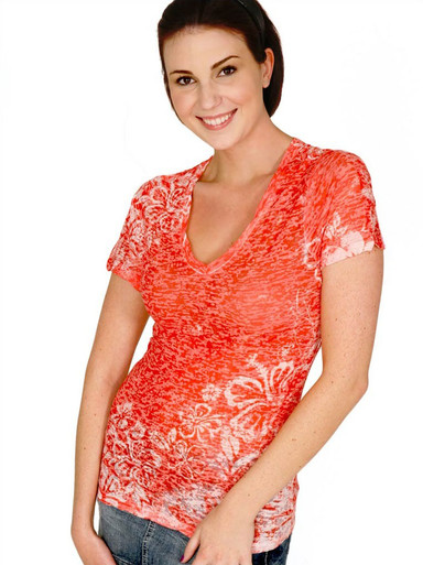 Tangerine Hibiscus Short-Sleeved Burnout