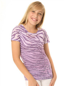 Purple Zebra Short-Sleeved Tween Burnout