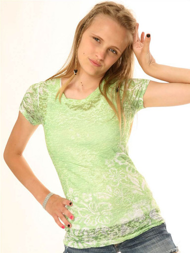 Lime Hibiscus Short-Sleeved Tween Burnout