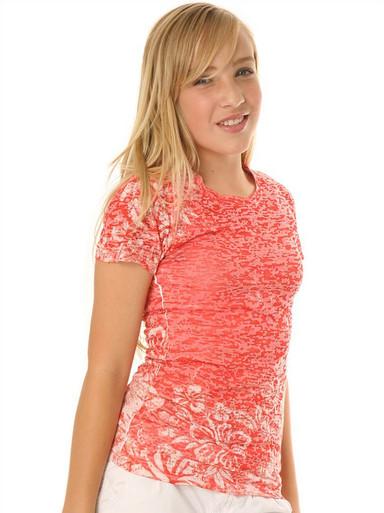 Tangerine Hibiscus Short-Sleeved Tween Burnout