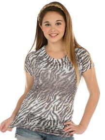 Zebra Short-Sleeved Tween Burnout