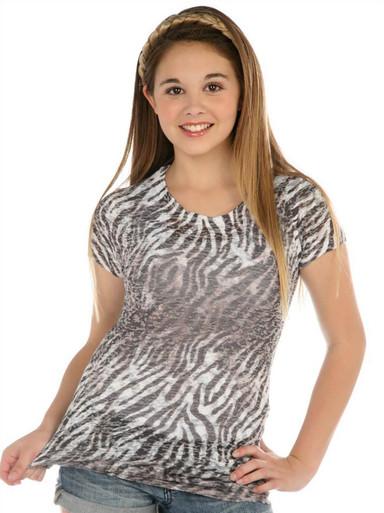 Zebra Short-Sleeved Tween Burnout