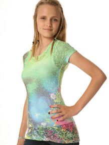 Green Fairy Tale Short-Sleeved Tween Burnout