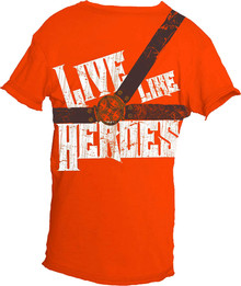 Live Like Heroes Orange Short-Sleeved Warrior Poet Tee (Front)