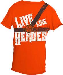Live Like Heroes Orange Short-Sleeved Warrior Poet Tee (Front)