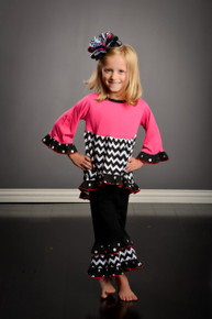 Hot Pink B&W Chevon Two Piece Outfit