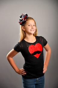 Tween Mustache Heart Burnout