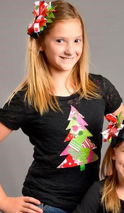 Tween Patchwork Christmas Tree Burnout