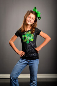 Tween Patchwork Shamrock Burnout