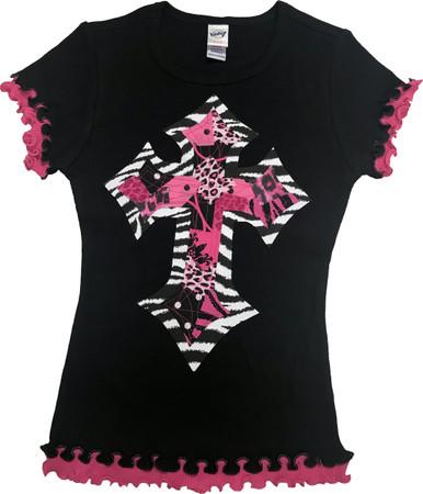 Zebra & Pink Cross Tween Lettuce Edge Tee