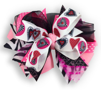 Patchwork Peace Heart Bow