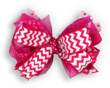 Hot Pink Chevron Bow