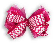 Hot Pink Chevron Bow