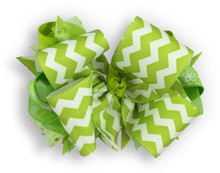 Lime Chevron Bow