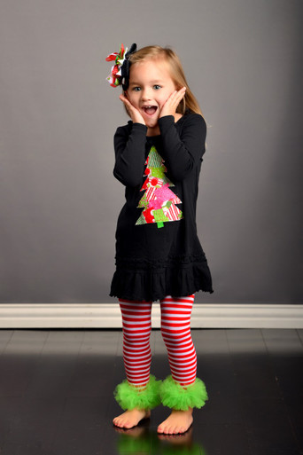 Lime & Pink Patchwork Christmas Tree Dress