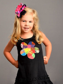 Black Patchwork Flower Dress