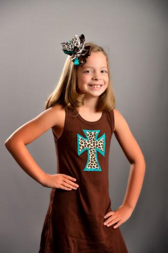 Teal Leopard Cross Dress