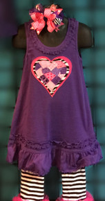 Zebra & Pink Heart on a Purple Dress