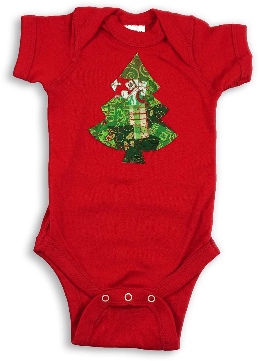 Christmas Tree Onesie.Red Green Christmas Tree Onesie
