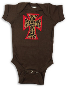 Red Leopard Cross Onesie