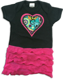 Triple Heart Hot Pink Ruffle Onesie