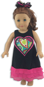 Triple Heart Hot Pink Ruffle Doll Dress