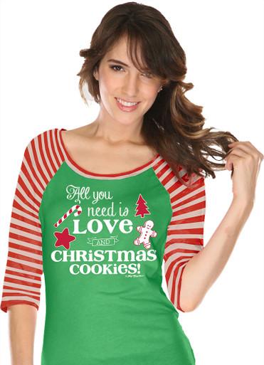 All You Need Is Love and Christmas Cookies Raglan Closeup