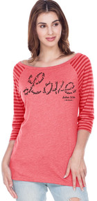 John 3:16 Love on a Red Striped Raglan