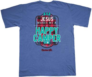 Happy Camper  Comfort Colors Cherished Girl Tee Back