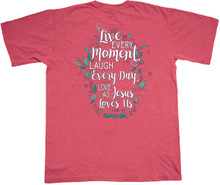 Cherished Girl Live Every Moment Women's Christian Tee by Kerusso on Comfort Colors Shirt Back