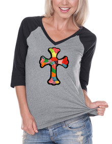 Womens Raglan Patchwork Cross