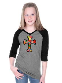 Tween Raglan Patchwork Cross