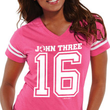 Women's John 3:16 Football Jersey Closeup