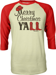 Merry Christmas Y'All Southern Women's 3/4-Sleeve Raglan