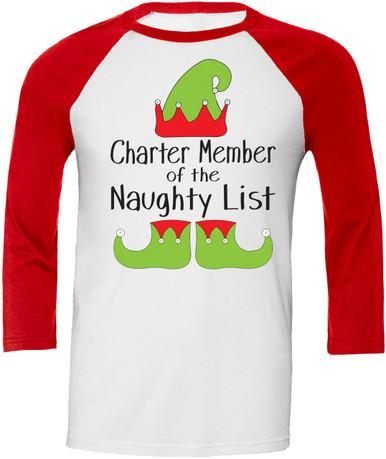 Womens Charter Member of the Naughty List Raglan