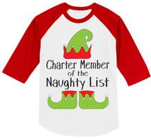 Girls Charter Member of the Naughty List Raglan