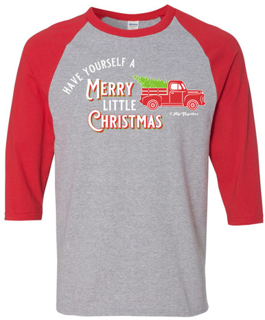 Have Yourself a Merry Little Christmas Vintage Red Truck Raglan for Men or Women