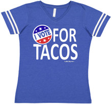 I Vote For Tacos Blue Football Raglan
