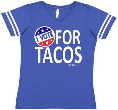 I Vote For Tacos Blue Football Raglan