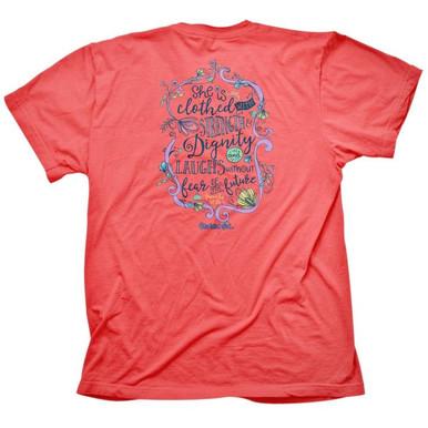 Cherished Girl Strength & Dignity Women's Christian Shirt by Kerusso Back