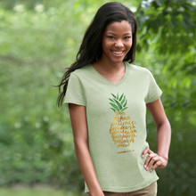 Pineapple Love Joy Peace Grace & Truth Women's V-Neck