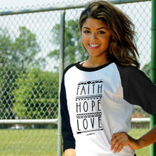 Faith Hope Love Women's Raglan by Grace & Truth
