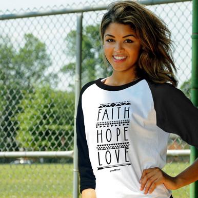 Faith Hope Love Women's Raglan by Grace & Truth
