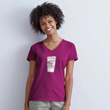 I Run on Coffee & Grace Magenta Women's V-Neck by Grace & Truth