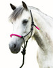 NOTE: The original of this product image was supplier-provided and is a good example of how NOT to tie the halter knot (please note proper knot tying and halter fitting in the second & third pictures here). This halter should also ideally be tied a little more snugly beneath the horse's jaw.