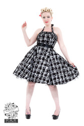 H&R London Kiara White Tartan Flocked Halterneck Dress