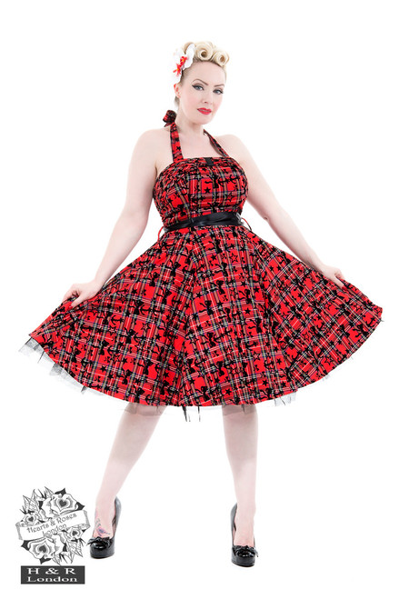 H&R London Kiara Red Tartan Flocked Halterneck Dress