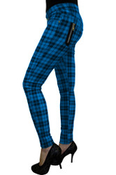 Banned Check Skinny Jeans Blue